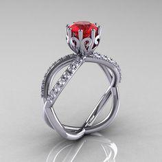 14k white gold ruby diamond unusual unique vine by DesignMasters, $1100.00