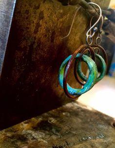Enameled Hoop Earrings with Sterling Silver Earwire