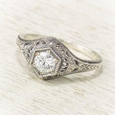 Filigree Antique Vintage Engagement Diamond Ring by spexton, $1,675.00