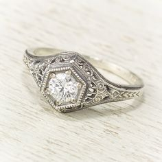 Filigree Antique Vintage Engagement Diamond Ring by spexton, $1,675.00