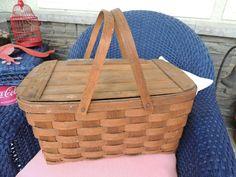 Vintage Picnic Basket Aged Wood Oak Woven by PurveyorsOfFineJunk, $38.99