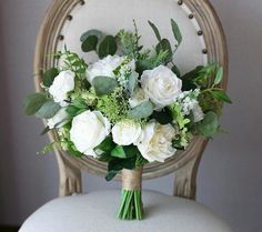 White Rose Peony Bridal Bouquet Greenery Wedding Bouquet Wedding Flowers Silk Bouquet Bride B Silk Bridal Bouquet, Silk Wedding Bouquets, Wedding Flower Arrangements, Flower Bouquet Wedding, Silk Flower Bouquets, Bridesmaid Bouquets, Silk Flowers, Faux Flowers, Bridesmaids