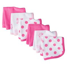 Just One You�Made by Carter's� Newborn Girls' 6 Pack Mouse Washcloth Set - Pink