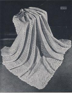 Vintage knitting pattern Annemarie baby shawl by Babylaceshawls