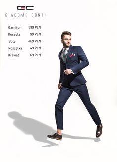 Stylizacja Giacomo Conti: Garnitur MARCO 2 E15/02P, Koszula MARIO 001 slim, Buty 2703