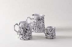 Black on White Splatterware Pitchers