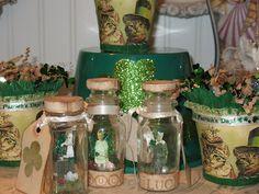 Saint Patricks day fairies in a jar