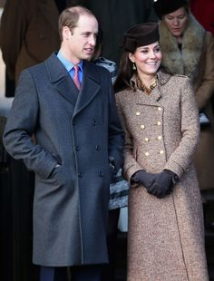 Prince William and Kate leave the Christmas Day service at Sandringham Church on December 25, 2014 in King's Lynn, England.