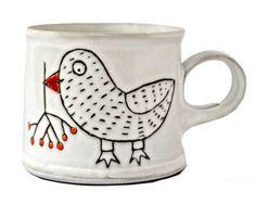Hrnek pták s jeřabinou K 110 Mugs, Paper Mache, Tableware, Kitchen, Ideas, China Painting, Papier Mache, Dinnerware, Cooking