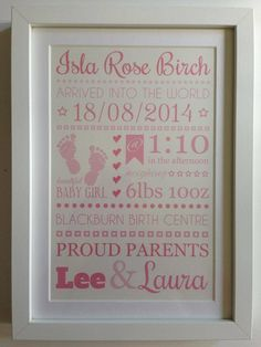 Personalised Baby Arrival Typography print