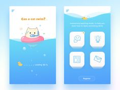Swim cat designed by Connect with them on Dribbble; the global community for designers and creative professionals. Web Mobile, Mobile Web Design, App Ui Design, Mobile App Ui, Interface Design, Game Design, Flat Design, Design Color, Design Design