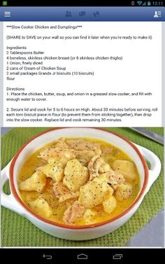 Crockpot chicken n dumplings - another winner! Matt loved it!