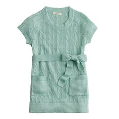 Girls' belted cable tunic