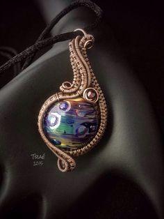 Hand Blown Glass Bead Copper Wire Weave by Traebetruedesign