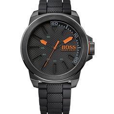 Hugo Boss Orange - 1513004 - Montre Homme - Quartz Analogique - Cadran Noir - Bracelet Silicone Noir