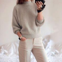 2017 новая зимняя повседневная Фонарь рукавом свободные толстый свитер женский водолазка сплошной женские свитера женщин