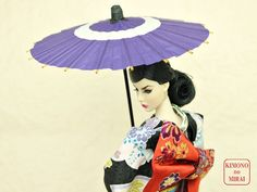 "Kimono Umbrella ""JANOME-KASA"" Purple for 1/6 dolls,ornament,wagasa,geisha,maiko #ClothingAccessories"