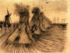 Stooks and a Mill- by Vincent van Gogh