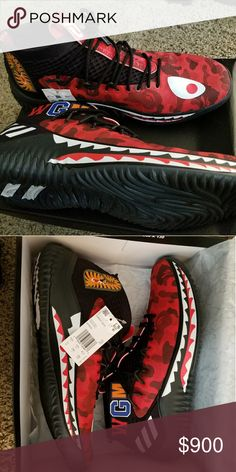 finest selection 5383e 173dc BAPE DAME 4 Red BAPE sneakers brand new from Adidas 747 Event Bape Shoes  Athletic Shoes