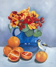 """""""Out Of The Blue - Original oil Blue vase, oranges, nasturtiums and birds. Still life. """" by Mia Laing. Paintings for Sale. Bluethumb - Online Art Gallery Animal Paintings, Paintings For Sale, Vintage Vases, Buy Art Online, Gouache Painting, Australian Artists, Artist Art, Online Art Gallery, Great Artists"""