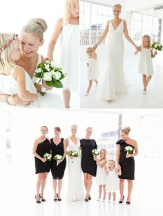 Bright white bridal gown and flowers with the sleek black dresses create such a clean and sleek look.