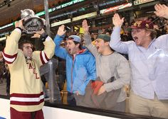 A Beanpot Championship sure gives them something to cheer about! Congrats to the BC Men's hockey team for a three-peat last night!