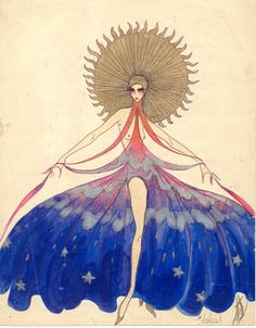 'Soliel' Vintage Costume Design for Paris Music Hall Artist Unknown (Possibly Louis Curti?)