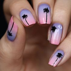 Simple sunset ombre with palms by Lieve91