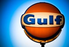 Photograph of a old Gulf sign Detroit History, Gas Company, American Manufacturing, Old Gas Stations, Oil And Gas, Blue Orange, Old School, Racing, Fill