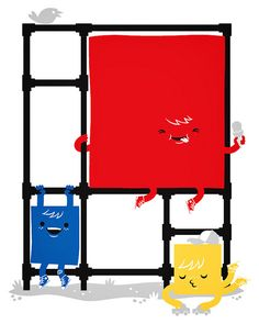Mondriaans Playground - A kid-friendly twist to Piet Mondrian's Composition II in Red, Blue, and Yellow.
