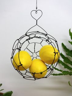 Mini Hanging Sphere Basket With Heart Hanger by CharestStudios