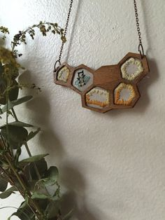 Embroidered Honeycomb Necklace  #Jewelry  #Necklace  #Fiber # thehornet'snest  #hand embroidered  #needlework  #wood #jewelry #pendant  #gift  #christmas gift #sweet   #bee jewelry #bee necklace  #honeybee #honeycomb