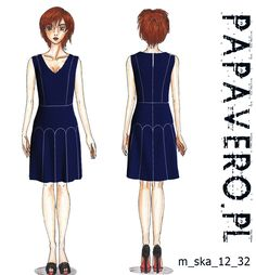 blue dress with godet skirt - free pattern from papavero