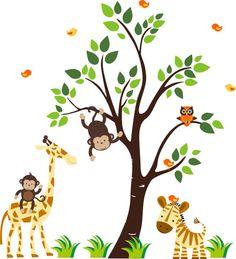 Jungle Giraffe Zebra Monkeys Owl   110  Tree by StickEmUpWallArt, $145.00