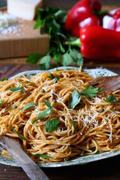 Make this roasted red pepper pesto recipe from pbs food for a rich pesto fo Vegan Recipes Videos, Vegan Lunch Recipes, Healthy Pasta Recipes, Healthy Foods To Eat, Seafood Recipes, Cooking Recipes, Roasted Red Pepper Pesto Recipe, Roasted Red Peppers, Kitchen Vignettes