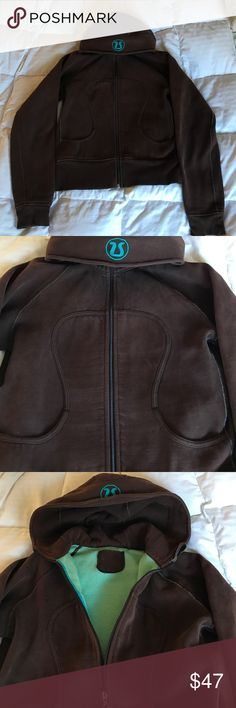 Lululemon brown scuba hoodie Excellent condition.  No fading or spots.  I couldn't get my camera to take a great pic of the color but it is a rich brown with aqua logo, tie, and interior.  Beautiful jacket that goes with everything lululemon athletica Jackets & Coats