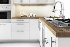 KIEA Ringhult kitchen in white gloss and t-bar handles. This is pretty much the look we are going for.