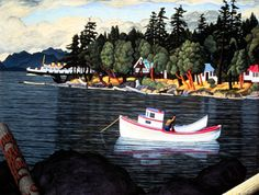 Taylor Bay, Gabriola Island, B. - 1952 by E. Hughes, now enshrined in the Barbeau-Owen Gallery in Whistler, B. Emily Carr Paintings, Small Paintings, Landscape Paintings, Landscapes, Barbara Cooney, Canadian Artists, Whistler, Abstract Expressionism, Art Museum
