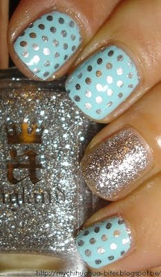 Minze, Glitzer & Tupfen - nailed it! Dot Nail Art, Polka Dot Nails, Blue Nails, Polka Dots, Green Nails, Fabulous Nails, Gorgeous Nails, Pretty Nails, Amazing Nails