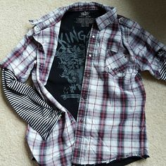 Boys Youth size 10/12 KINGSLEY boys youth 14/16 snap closure shirt. Striped sleeves and plaid. Raw hem. Design on inside back. On the smaller size, 10/12. Truly awesome shirt. KINGSLEY Shirts & Tops Button Down Shirts