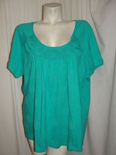 St. Johns Bay Top Blue Scoop Neck Elastic Rushed Front SS Shirt Women's Sz 3X #StJohnsBay #Tunic #Casual