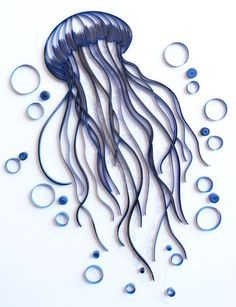 Jellyfish - Unique Paper Quilled Wall Art for Home Decor (paper quilling handcrafted art piece made with love by an artist in California) : Jellyfish Unique Paper Quilled Wall Art for by kaagazByMarlene Quilled Paper Art, Paper Quilling Designs, Quilling Paper Craft, Diy Paper, Paper Crafts, Quilling Ideas, Arte Quilling, Quilling Comb, Quilling Techniques