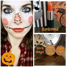 Did this spooky cute scarecrow makeup with Red Apple Lipstick's eyeshadows in Black Magic, Down To Earth and Sugar & Spice plus the lipstick in Sunkissed. www.redapplelipstick.com