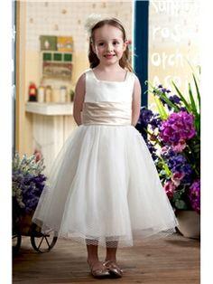 Lovely Ball Gown Square Knee-length Sash Embellishing Flower Girl Dress