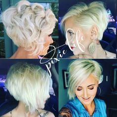 Platinum blonde pixie haircut