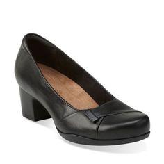 Rosalyn Belle Black Leather womens-wide-fit-heels