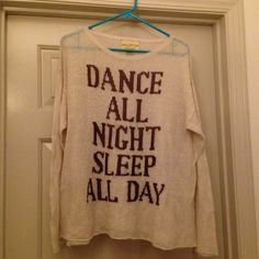 Wildfox Dance All Night Sweater Size small NWOT Wildfox Dance All Night Sleep All Day sweater in cream with brown writing. So cute! Wildfox Tops