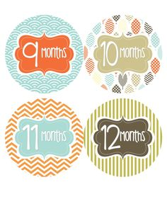 Baby Month Stickers Baby Boy Monthly Onesie Stickers Blue Green Brown Chevron Boy Onesie Stickers Baby Shower Gift Photo Prop Pat2-R. $12.00, via Etsy.