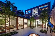 Interior courtyard view of home in Chicago.