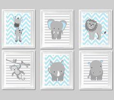 Zoo Nursery Art, Baby Boy, Baby Room Decor, Baby Shower, Blue and Grey, Safari, Jungle Decor, Elephant, Lion, Giraffe, Monkey, Rhino, Hippo by SweetPeaNurseryArt on Etsy